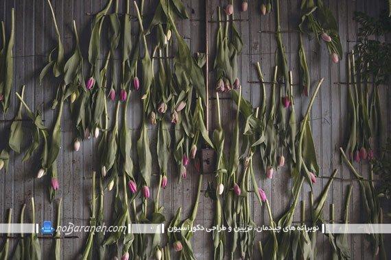 تزیین دیوار خانه با گل و گیاهان پژمرده