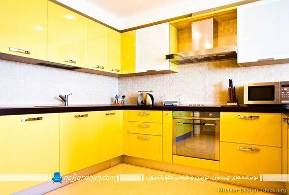 طراحی دکوراسیون آشپزخانه با زرد سیر