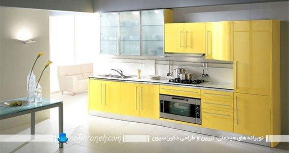 کابینت مدرن آشپزخانه با رنگ زرد