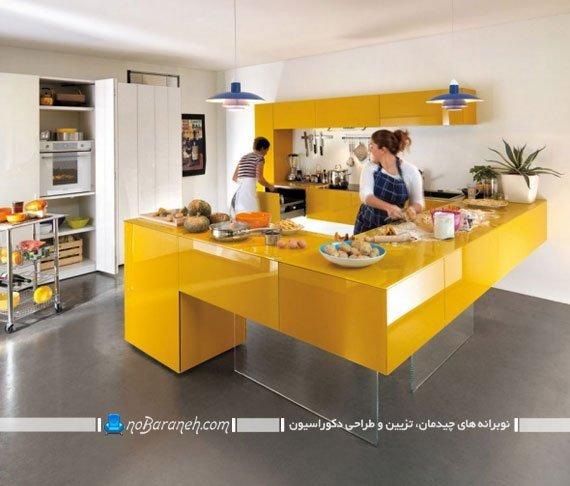 طراحی دکوراسیون آشپزخانه اپن با زرد