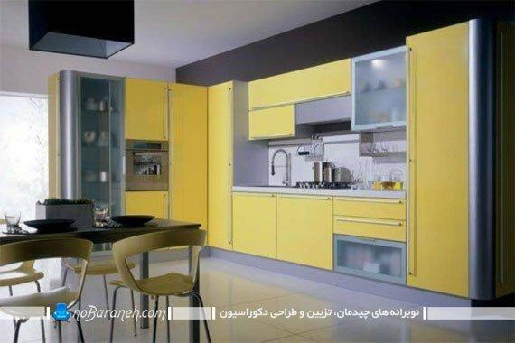 طراحی دکوراسیون آشپزخانه با رنگ زرد