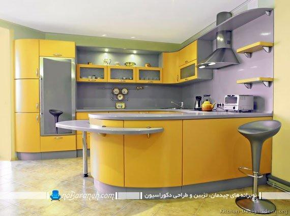 دیزاین آشپزخانه با زرد و بنفش