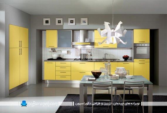 کابینت زرد و نقره ای