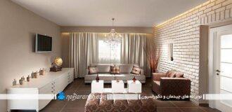 عکس و مدل طراحی دکوراسیون مدرن در اتاق نشیمن و سالن پذیرایی، عکس و مدل دیوارپوش آجری سفید رنگ برای اتاق پذیرایی، مدل چیدمان مبلمان در اتاق نشیمن پذیرایی