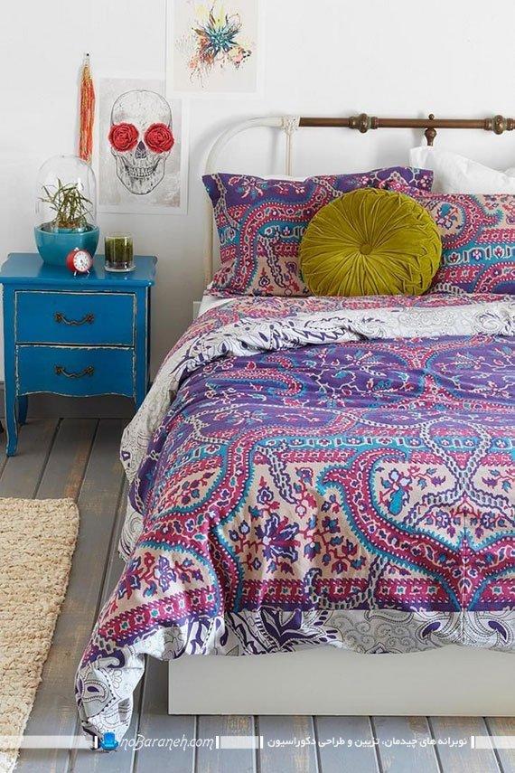 روتختی طرح دار با رنگ بندی آبی و بنفش