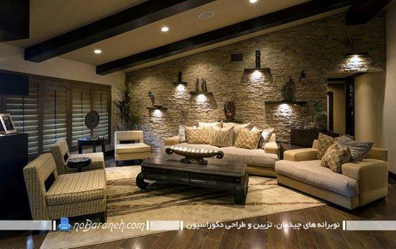 تزیین دیوار اتاق پذیرایی با سنگ آنتیک و دکوراتیو
