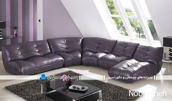 مبلمان مدرن چرمی با چیدمان ال در اتاق نشیمن