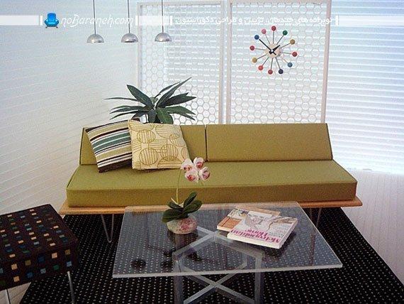 میز شیشه ای با پایه فلزی