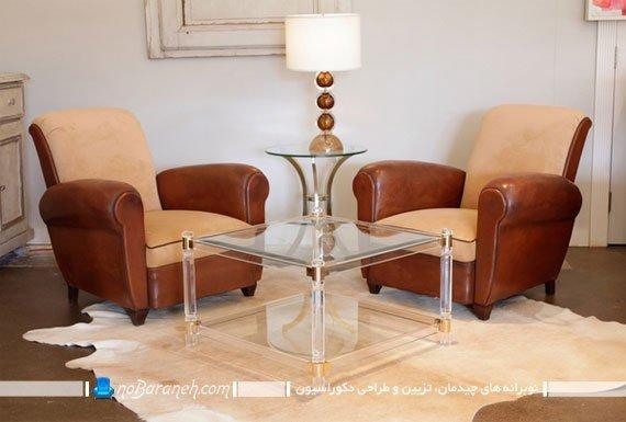 میز جلو مبلی کلاسیک و شیشه ای