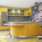 دکوراسیون آشپزخانه های مدرن با کابینت های زرد رنگ