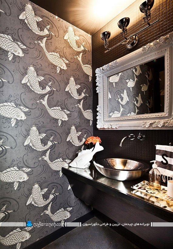 کاغذ دیواری سرویس بهداشتی ، دیوارپوش دستشویی