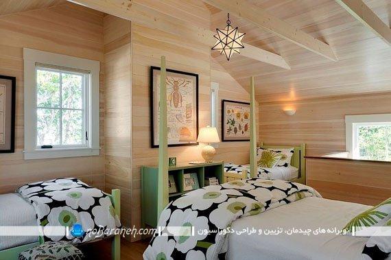 ترکیب طرح چوب و رنگ سبز در اتاق خواب