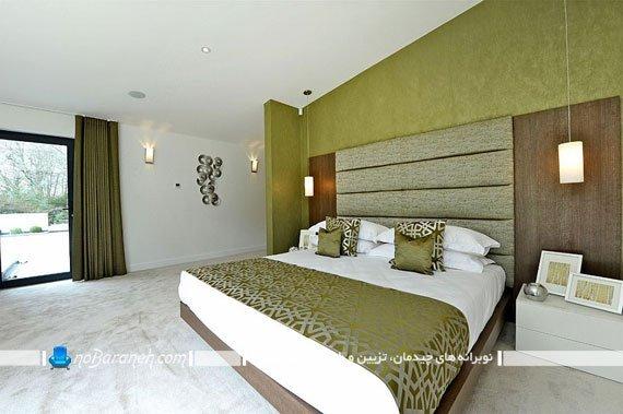 ست کردن روتختی و دیوار و پرده اتاق خواب با رنگ سبز