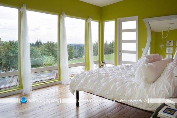 اتاق خواب عروس با دیوارهای سبز رنگ