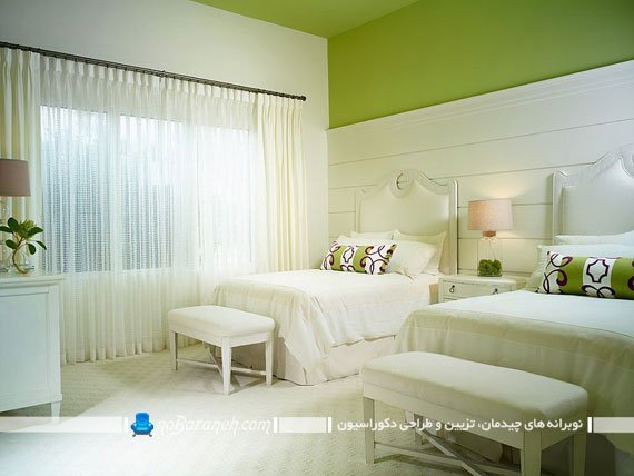 اتاق خواب زیبا با دیوار و سقف سبز رنگ
