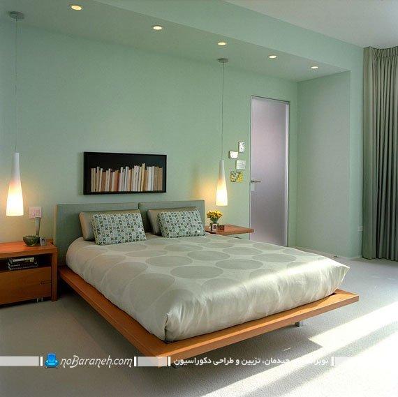 اتاق خواب مدرن با دیوارهای سبز رنگ