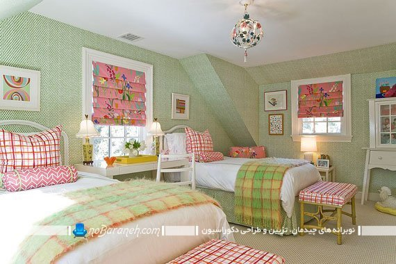 کاغذ دیواری سبز رنگ برای اتاق کودکان
