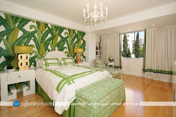 تزیین دیوار اتاق خواب با کاغذ دیواری سبز رنگ