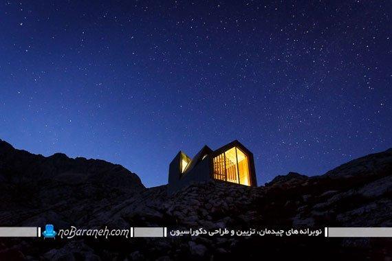 اتاق خواب چوبی بر فراز کوه آلپ