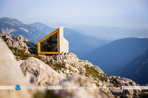 کمپ و اتاق خواب چوبی بر فراز کوه آلپ