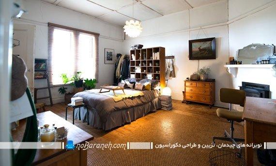 تخت خواب و کتابخانه در کنار هم