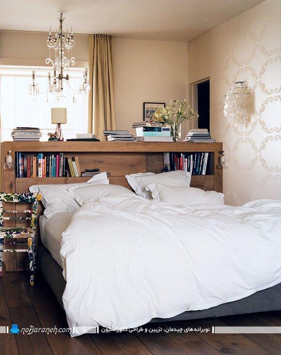 مدل تخت خواب هایی با کتابخانه و قفسه بندی چوبی