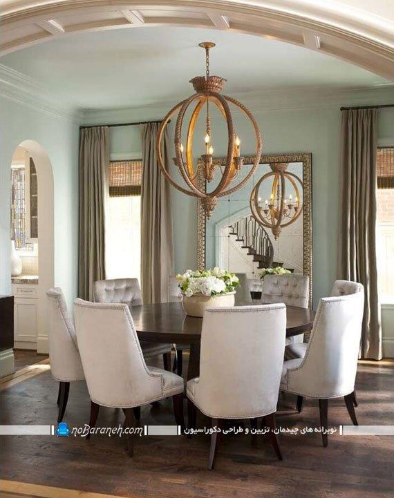 تزیین سلطنتی ناهارخوری با آینه کلاسیک