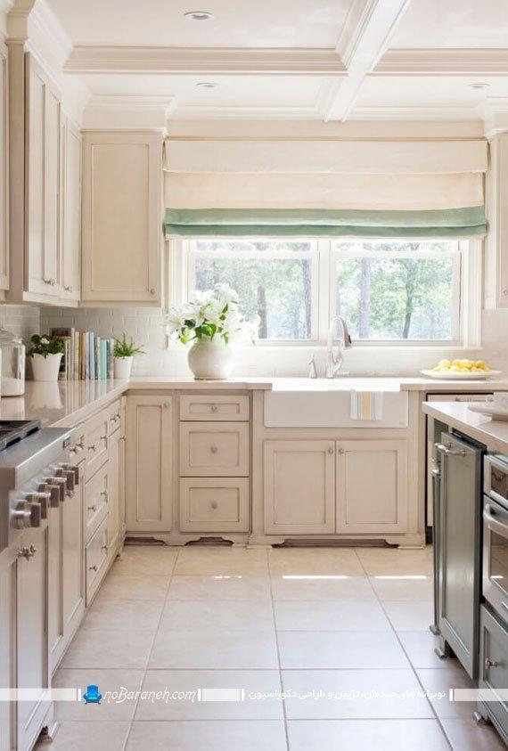 پرده های رنگی شاد و زیبا برای آشپزخانه سفید