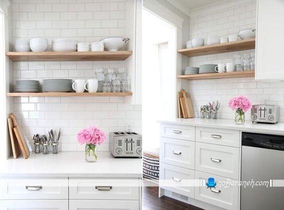 شلف های چوبی برای تزیین و فضاسازی در آشپزخانه