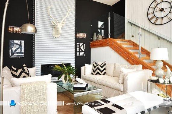 کنتراست سیاه و سفید اتاق پذیرایی