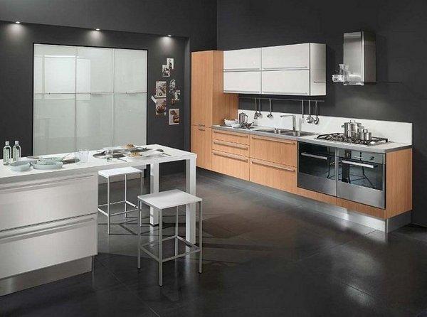 آشپزخانه سفید و مشکی