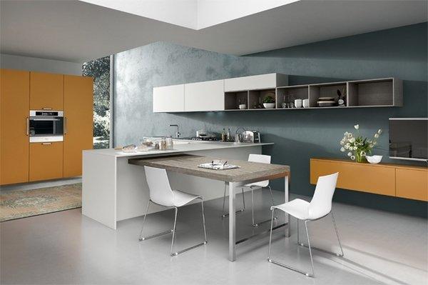 دیزاین آشپزخانه اپن با رنگهای خنثی