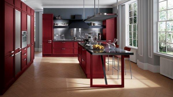 دیزاین آشپزخانه اپن با رنگ زرشکی