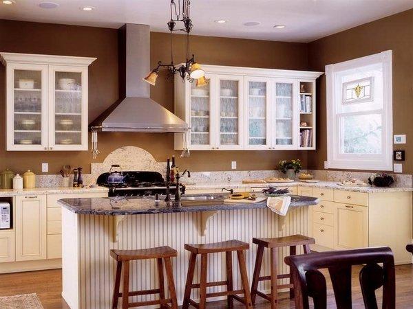 دیزاین آشپزخانه اپن با رنگ قهوه ای