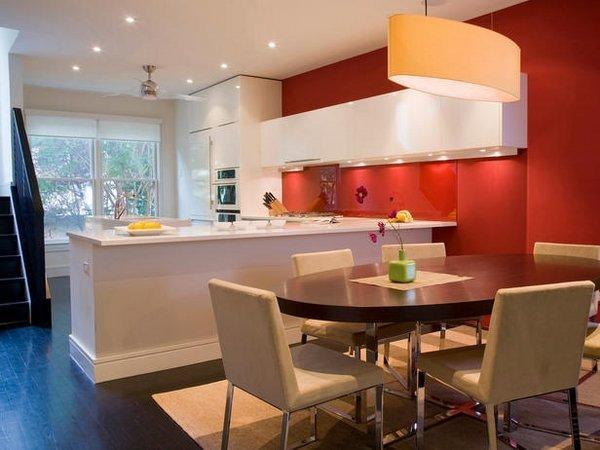 آشپزخانه سفید و نارنجی
