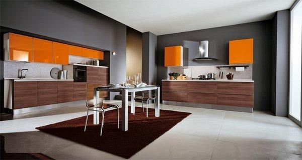 آشپزخانه قهوه ای و خاکستری
