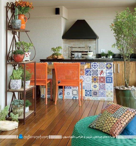 کاشی کاری دیواره میز اپن آشپزخانه