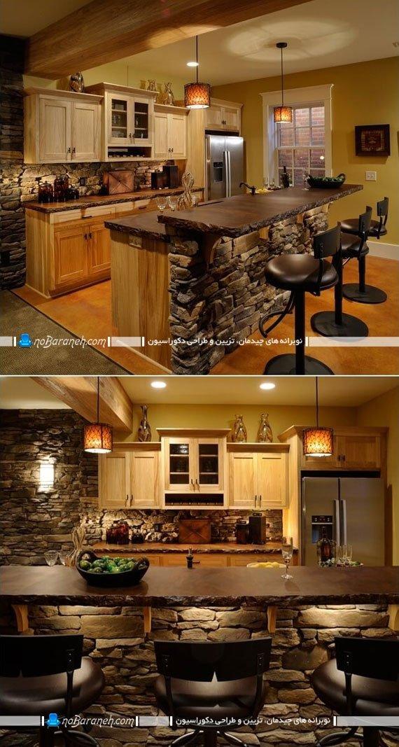 تریین میز اپن آشپزخانه با سنگ آنتیک و دکوراتیو