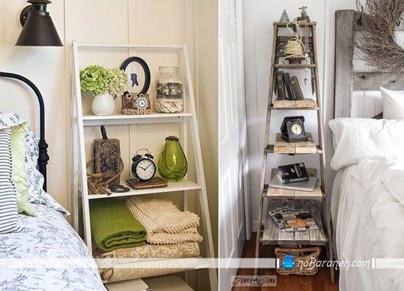 تزیین و مدیریت فضای کنار تخت با قفسه های چوبی پایه دار