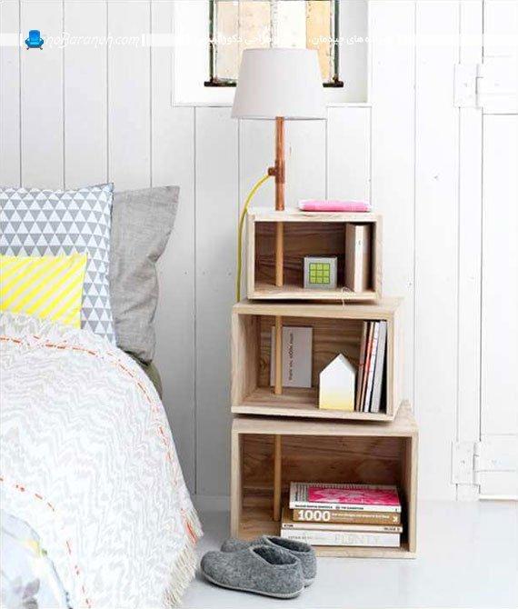 میز پاتختی یا کنار تختی چوبی و چند طبقه