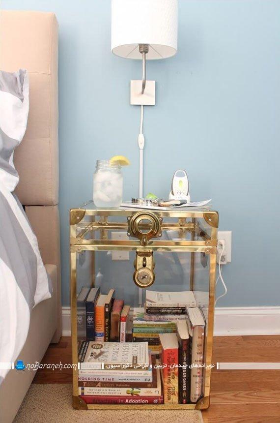میز شیشه ای فانتزی برای کنار تخت و سرویس خواب
