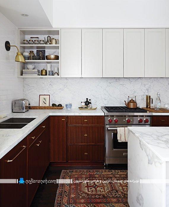 کنتراست تیره و روشن زیبا در دکوراسیون آشپزخانه