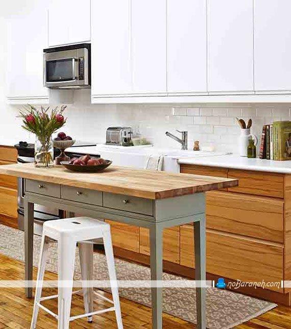 کابینت سفید و طرح چوب