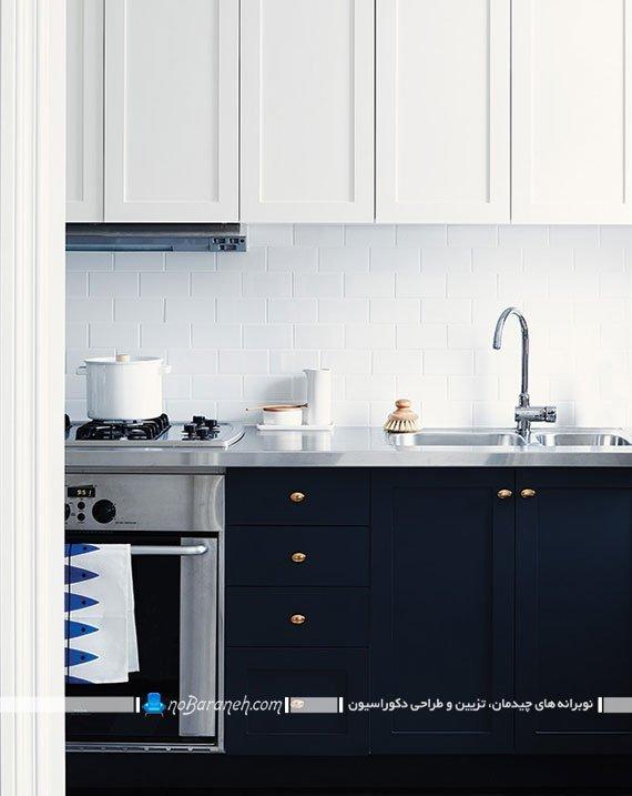 ایجاد کنتراست در دکوراسیون آشپزخانه با رنگ های سفید و سرمه ای