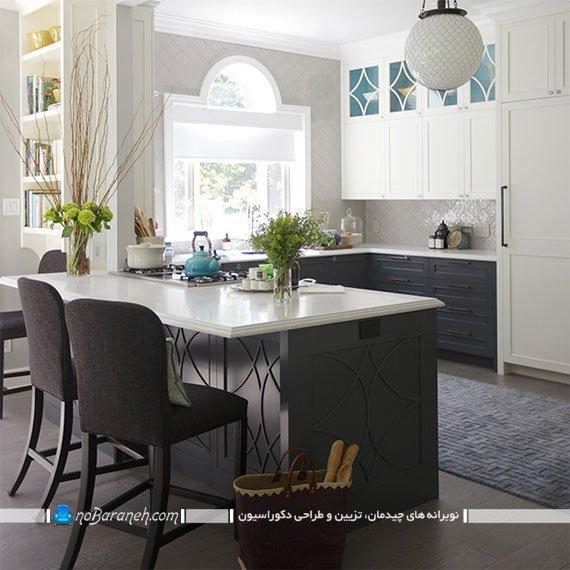 تزیین دکوراسیون آشپزخانه با رنگ های سفید و خاکستری