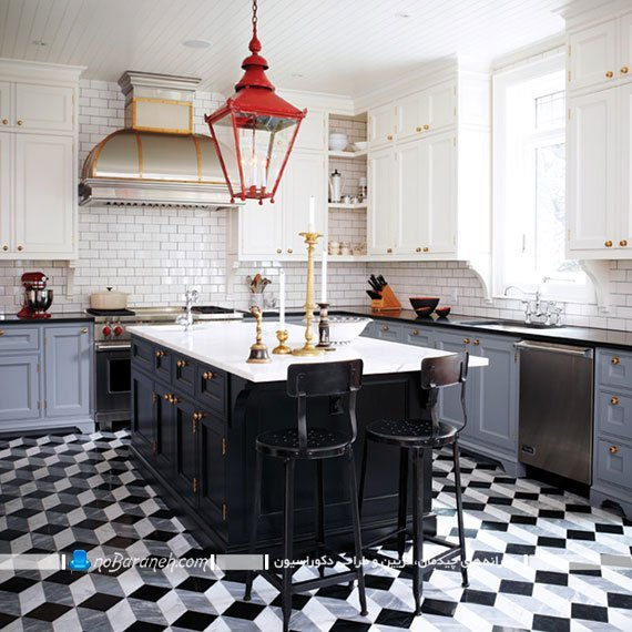 تزیین دکوراسیون آشپزخانه با کابینت های رنگ سفید و مشکی