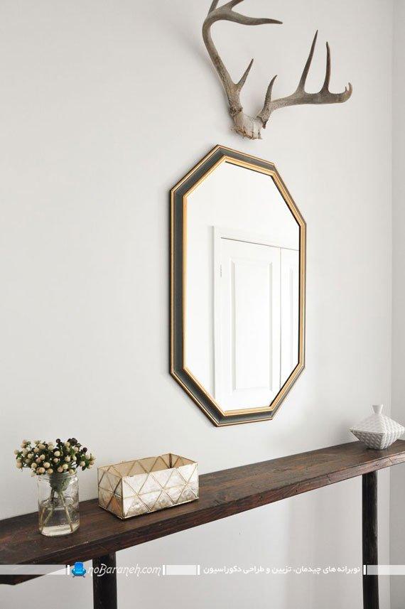 تزیین شیک راهرو ورودی و هال با آینه