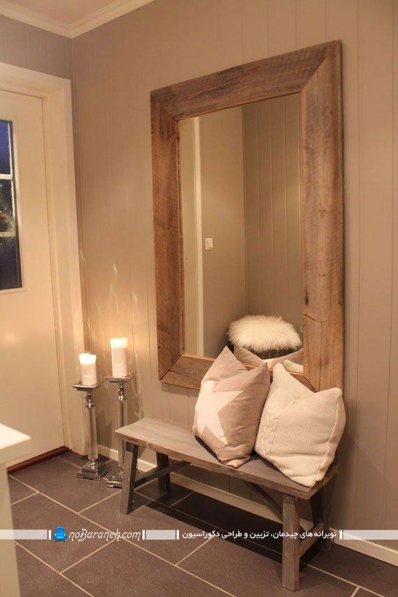تزیین راهرو خانه با نصب آینه دیواری و قرار دادن نیمکت نشیمن
