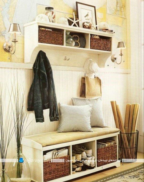 جاکفشی چوبی کلاسیک با فضای نشیمن، مدل های جدید جاکفشی چند تکه چوبی ، عکس جا کفشی های چوبی طرح جدید با فضای نشیمن.