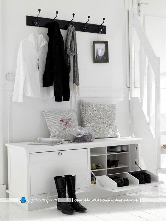 جاکفشی و جالباسی سفید چوبی با درب جک دار. جا کفشی کمدی مدرن و شیک طرح جدید. مدل های جدید جا کفشی برای منزل عروس.